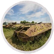 Old Russian Btr-60 Armored Personnel Round Beach Towel