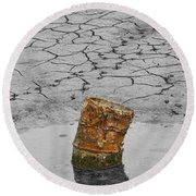 Old Rusted Barrel Abstract Round Beach Towel
