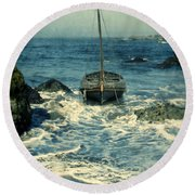 Old Sailing Vessel Near The Rocky Shore Round Beach Towel
