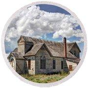 Old Schoolhouse - Ovid - Idaho Round Beach Towel
