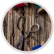 Old Scissors And Spools Of Thread Round Beach Towel