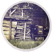 Old Shed Round Beach Towel by Joana Kruse