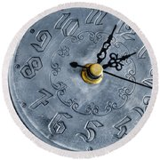 Old Silver Clock Round Beach Towel