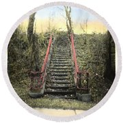 Old Stairs Round Beach Towel