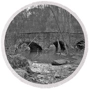 Old Stone Bridge Over The Unami Creek - Sumneytown Pa Round Beach Towel