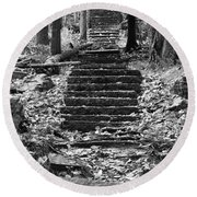 Old Stone Steps Round Beach Towel