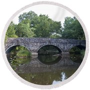 Old Sumneytown Pike Bridge Over The Perkiomen Creek Round Beach Towel