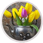 Old Tea Pot And Tulips Round Beach Towel