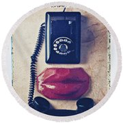 Old Telephone And Red Lips Round Beach Towel