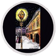Old Time Evening Round Beach Towel