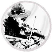 Old Time Fiddle Player No.560 Round Beach Towel