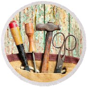 Old Tools Round Beach Towel