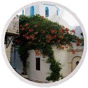 Old Town Church Paros Round Beach Towel