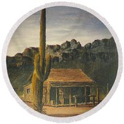 Old Tucson Home Round Beach Towel