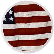 Old Usa Flag Round Beach Towel by Carlos Caetano