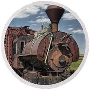 Old Vintage 1880's Railroad Train No.0394 Round Beach Towel