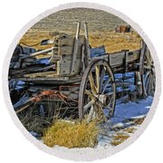 Old Wagon At Bodie Ghost Town Round Beach Towel