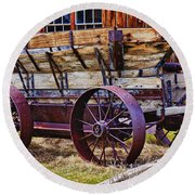 Old Wagon Bodie Ghost Town Round Beach Towel