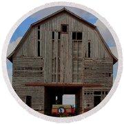 Old Wagon Older Barn Panoramic Stitch Round Beach Towel