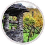 Old Water Well Round Beach Towel