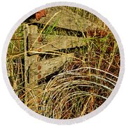 Old Weathered Gate Round Beach Towel