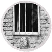 Old Western Jailhouse Window In Black And White Round Beach Towel