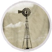 Old Windmill I Round Beach Towel