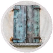 Old Window With Blue Shutte Round Beach Towel