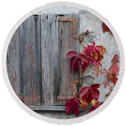 Old Window With Red Leaves Round Beach Towel