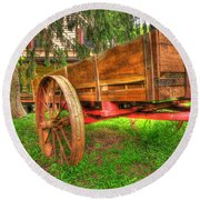 Old Wooden Cart Round Beach Towel