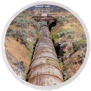 Old Wooden Water Pipeline - Rural Idaho Round Beach Towel