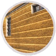 Old Yellow Building Round Beach Towel