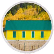 Old Yellow School House With Autumn Colors Round Beach Towel