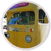 Old Yellow Transit Bus Abstract Round Beach Towel