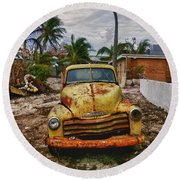 Old Yellow Truck Florida Round Beach Towel by Garry Gay
