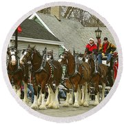 Olde Tyme Travel Clydesdales Round Beach Towel