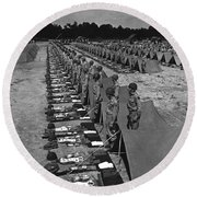 Oldiers Stand By For Inspection Round Beach Towel