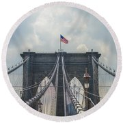 Ole Glory Over Brooklyn Bridge Round Beach Towel