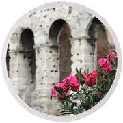 Oleander And Colosseum Round Beach Towel