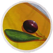 Olive In Olive Oil Round Beach Towel