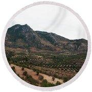 Olive Oil Mountain Round Beach Towel