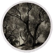 Olive Trees 9 Round Beach Towel