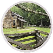 Oliver Cabin In Cade's Cove Round Beach Towel