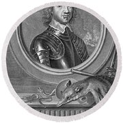 Oliver Cromwell, English Political Round Beach Towel
