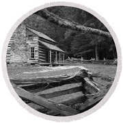 Oliver's Cabin In The Great Smokey Mountains Round Beach Towel