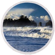 Olympic Ocean Swirls Round Beach Towel