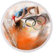 Olympics High Jump Gold Medal Ivan Ukhov Round Beach Towel