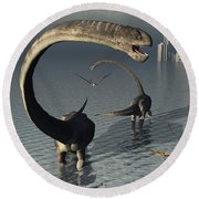 Omeisaurus Sauropod Dinosaurs Cooling Round Beach Towel