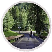On A Country Road - Vail Round Beach Towel