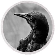On Alert - Bw Round Beach Towel